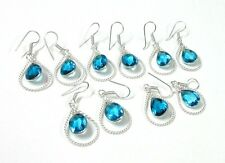 Faceted Blue Topaz Quartz WholeSale Lot 5Pc 925 Silver Overlay Earrings