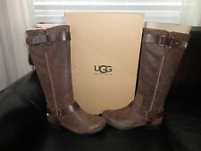 NEW UGG® Australia Women's Dree Dark Chestnut Leather Riding Boots SZ 5 $275