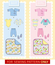 SEWING PATTERN! MAKE BABY BOY~GIRL LAYETTE! ONESIE~MORE! SIZE PREEMIE-18 MONTHS
