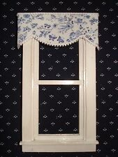 """Blue and White Valance Dollhouse Curtains - 3 """" W x 1 1/4 """" L"""
