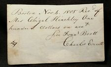 1805 Charles Everett BOSTON Trade Merchant Signed Recipt auto Economic History