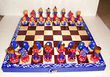 "UNIQUE MATRESHKA CHESS SET ~ 32pc + BOARD 11 3/8"" x 11 3/8''~ HANDPAINTED~WOOD"