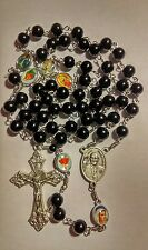 Black Czech glass pealrs Pope Francis Catholic rosary - handmade