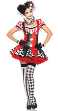 Womens Jester Clowns Circus Harlequin Halloween Cosplay Costume Fancy Dress S M