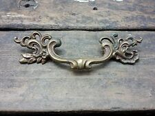 "VTG Ornate Scroll Vine Cast BRASS Pull Handle Drawer Dresser Desk Chest 3 1/2""CC"