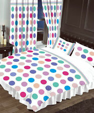 WHITE MULTI-COLOURED POLKA DOT SINGLE DUVET COVER BED SET