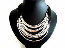 STuNNing Silver Tubes Multi Black Leather Cords Collar Necklace    LaGenLooK