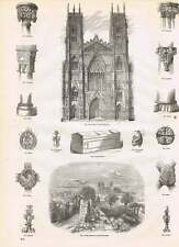 1854 West Front York Minster Coped Tomb Ancient Ramparts Engravings