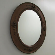 Mirror Large Oval Hanging Rococo Bronze Heavy Plaster Beaded Flowers Antique