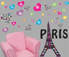 EIFFEL TOWER wall stickers MURAL 35 decals Paris leopard animal print hearts