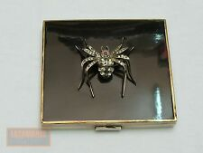 ART DECO PUDERDOSE SILBER EMAIL SPINNE NICE SILVER ENAMEL COMPACT WITH SPIDER