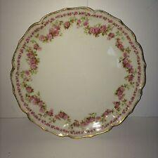 Antique GDA Limoges France Pink Roses Gilded Gold Porcelain China Plate