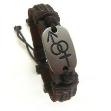 Pride Shack -Bisexual Pride Male & Female Symbol Brown Leather Bracelet Bi Pride