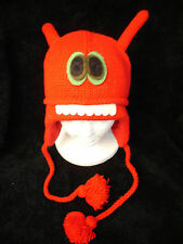 ALIEN HAT knit FLEECE LINED ski cap ADULT animal monster red costume swag emo