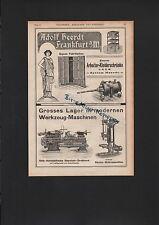 FRANKFURT/M., Werbung 1908, Adolf Heerdt Arbeiter-Kleiderschränke Werkzeug-Masch
