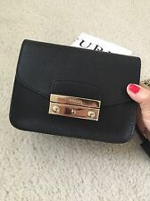 FURLA Onyx Black Saffiano Leather Baby Julia Chain Shoulder Bag