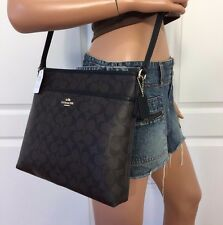 COACH BROWN BLACK SIGNATURE PVC LEATHER CROSSBODY SHOULDER HANDBAG BAG PURSE