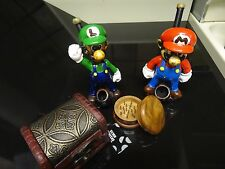 Mario & Luigi Set Ceramic Pipes w/Stash Box & Grinder Screens  glass alternative