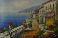 """Oil Painting on Stretched Canvas- """"Mediterranean Ocean View""""- 24x36"""""""