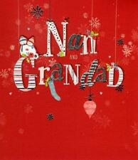 Nan & Grandad Christmas Greeting Card Embellished Special Xmas Cards