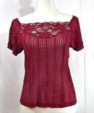 Anthropologie FREE PEOPLE Lace Blouse Wine Red Size Large Button down back