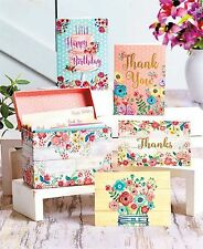 32pc Assorted Greeting Cards Boxed Notecard Set Woodwash Floral 4.75x3.5 NIP