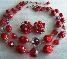 VINTAGE 40'S LARGE RED BAROQUE BEAD ART GLASS LAYERED NECKLACE & CLIP EARRINGS