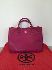 Tory Burch Robinson Double Zip Tote Fuchsia Saffiano Leather