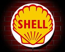 SHELL LED 600mm ILLUMINATED WALL LIGHT CAR BADGE GARAGE SIGN LOGO MAN CAVE