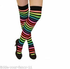 New Ladies Over the Knee Multi Coloured Stripe Socks Thigh High Fancy Dress