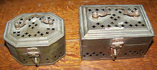 LOT PAIR VINTAGE BRASS INCENSE BURNERS TRINKET BOXES INDIA
