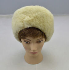 """Vintage Shearling Mutton Wool Russian Cossack Pill Box Hat Size 21.25"""" 6 3/4 S"""