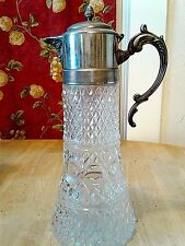 VINTAGE GODINGER CUT GLASS/SILVERPLATE WINE/TEA DECANTER/CARAFE WITH ICE INSERT