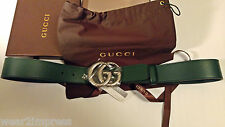 Authentic GUCCI Green smooth Leather Belt with double G Buckle Waist:32-34 NEW
