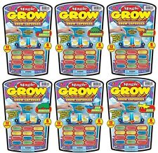 (6) Magic Grow Capsules Party Favor Bundle Pack Dinosaurs Bugs Animals Vehicles