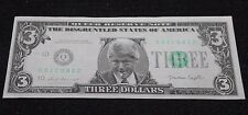 1993 Bill Clinton 3 Dollar Bill Banknote Series Q SN# 00ICU812 Unc Funny Money
