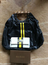Gucci Black Leather Yellow Stripe Metal Bamboo Handle Tote Bag w/ Gucci Wallet
