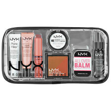 NYX Tricks of the Trade 7 piece Travel Set + Clear Makeup Cosmetics Bag NEW