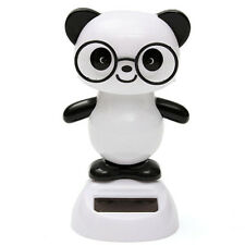Solar Powered Glasses Panda Flip Flap Swing Shook His Head Doll Car Ornaments tp