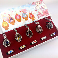 New Puella Magi Madoka Magica Soul Gem 5 Necklace + 5 Rings + box Cosplay