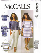 Off Shoulder Cold Shoulder Top Tunic Dress McCalls Sewing Pattern XS S M 4-14