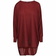 New Ladies Womens Oversized Ribbed Dip Hem Back Batwing Light Knitted Tunic Top