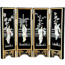 "Oriental Furniture 14"" x 18.5"" Lacquer 4 Panel Room Divider"