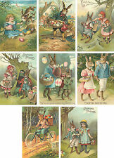 Vintage Easter 8 bunny rabbit antique pictures note cards tags scrapbooking  #1