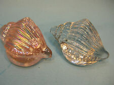 LOT of 2 CRYSTAL  CONCH SEA SHELL PAPERWEIGHTS..AIR-TRAP BUBBLE  PINK OPALESCENT