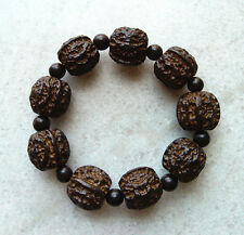 1Pcs 20MM Men's Natural Blackwood Beads Wood Bracelet with Walnuts Pattern