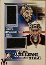 2010-11 IN THE GAME - BETWEEN THE PIPES - JHONAS ENROTH & RYAN MILLER JERSEYS