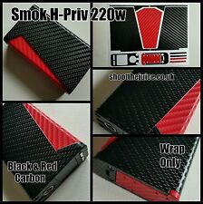 SMOK H-PRIV 220W - Black & Red carbon. wrap only ☆  uk postage uk. WRAP ONLY .