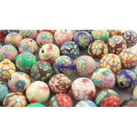 50PCS Mixed Color Fimo Polymer Clay Round Beads 10mm