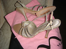 """AUTHENTIC"""" NINA""""MARCELA-GS SILVER GLIMMER OPEN TOE SLINGBACK HIGH HEEL SHOES"""